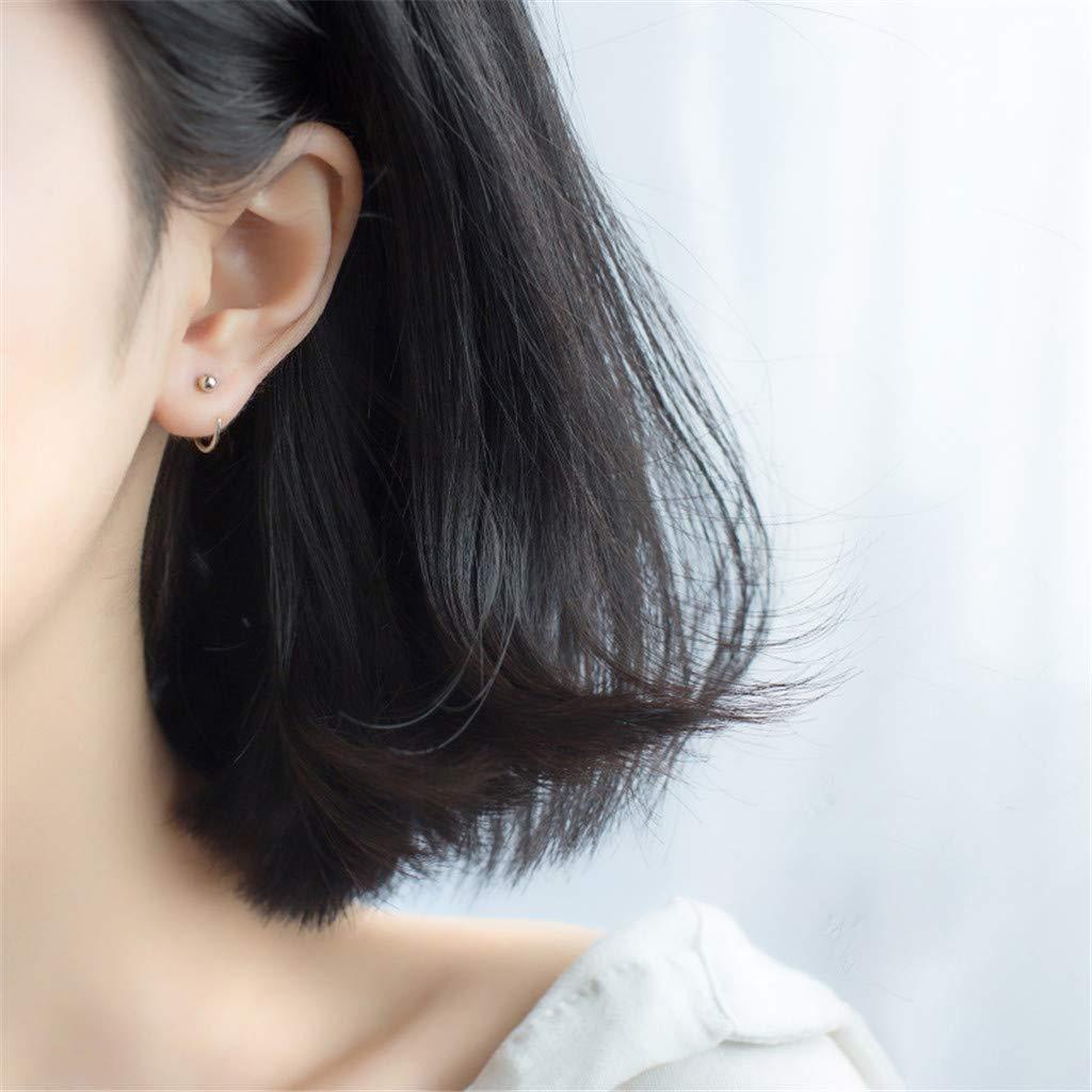 3-Mei Round Ear Clips Stud Earrings 925 Sterling Silver Cuff Earrings Sterling Silver Earrings for Women Girls