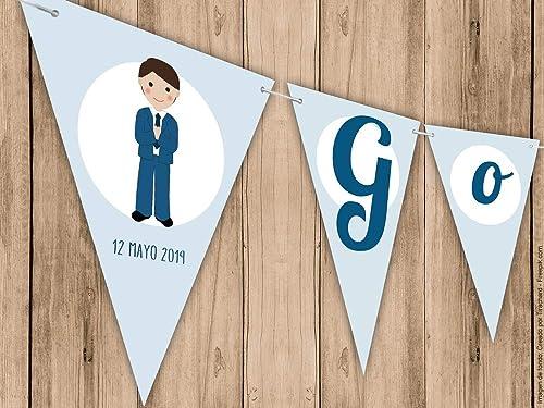Guirnalda Mi Primera Comunión niño en color azul. Guirnalda decorativa. Banderines para fiestas.: Amazon.es: Handmade