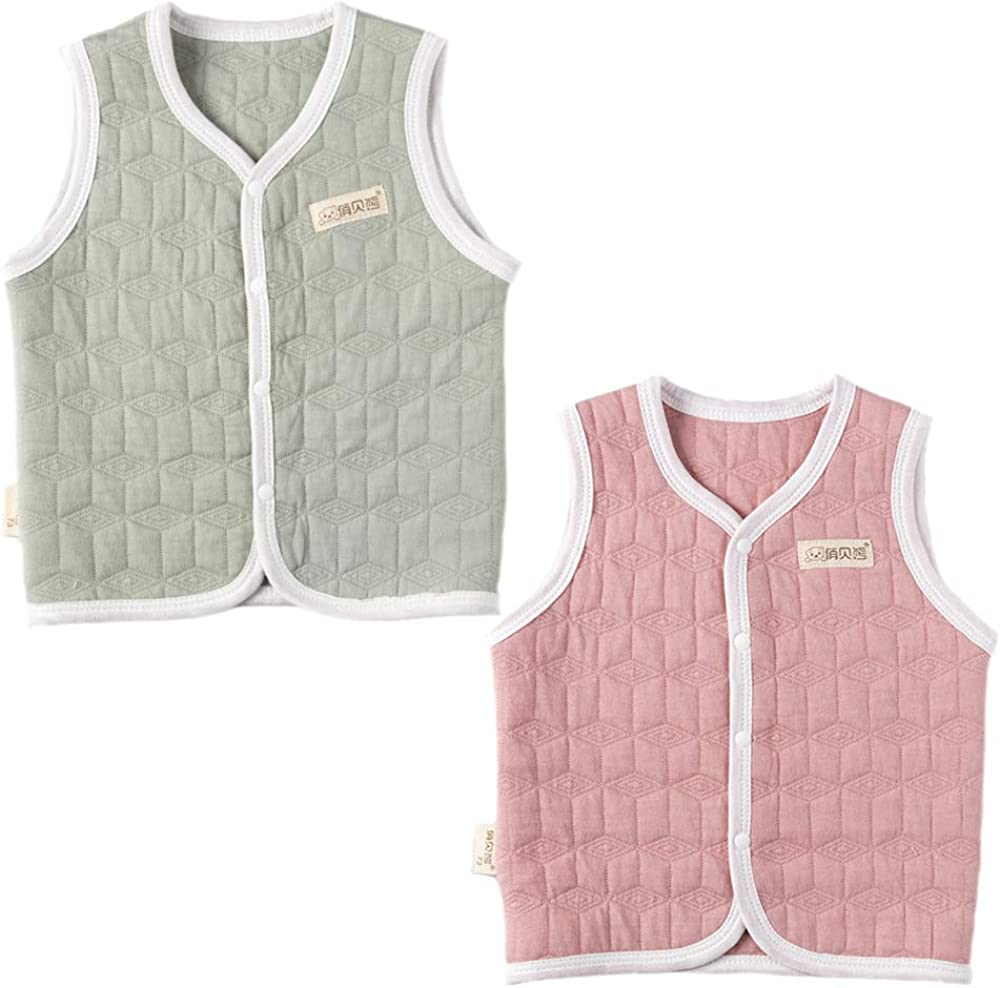 pureborn Baby Girls Boys Sleeveless Cotton Lightweight Vests 0-4 Years Grey