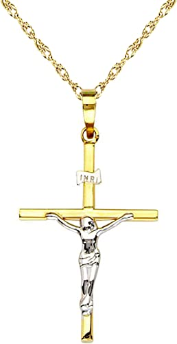 14k Yellow White Gold Two Tone Small Jesus Christ Crucifix Pendant Cross Charm