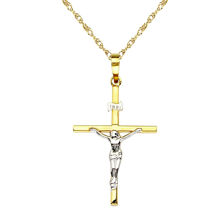 14k Yellow White Two Tone Gold Crucifix Cross Charm Pendant Necklace (16, 18, 20