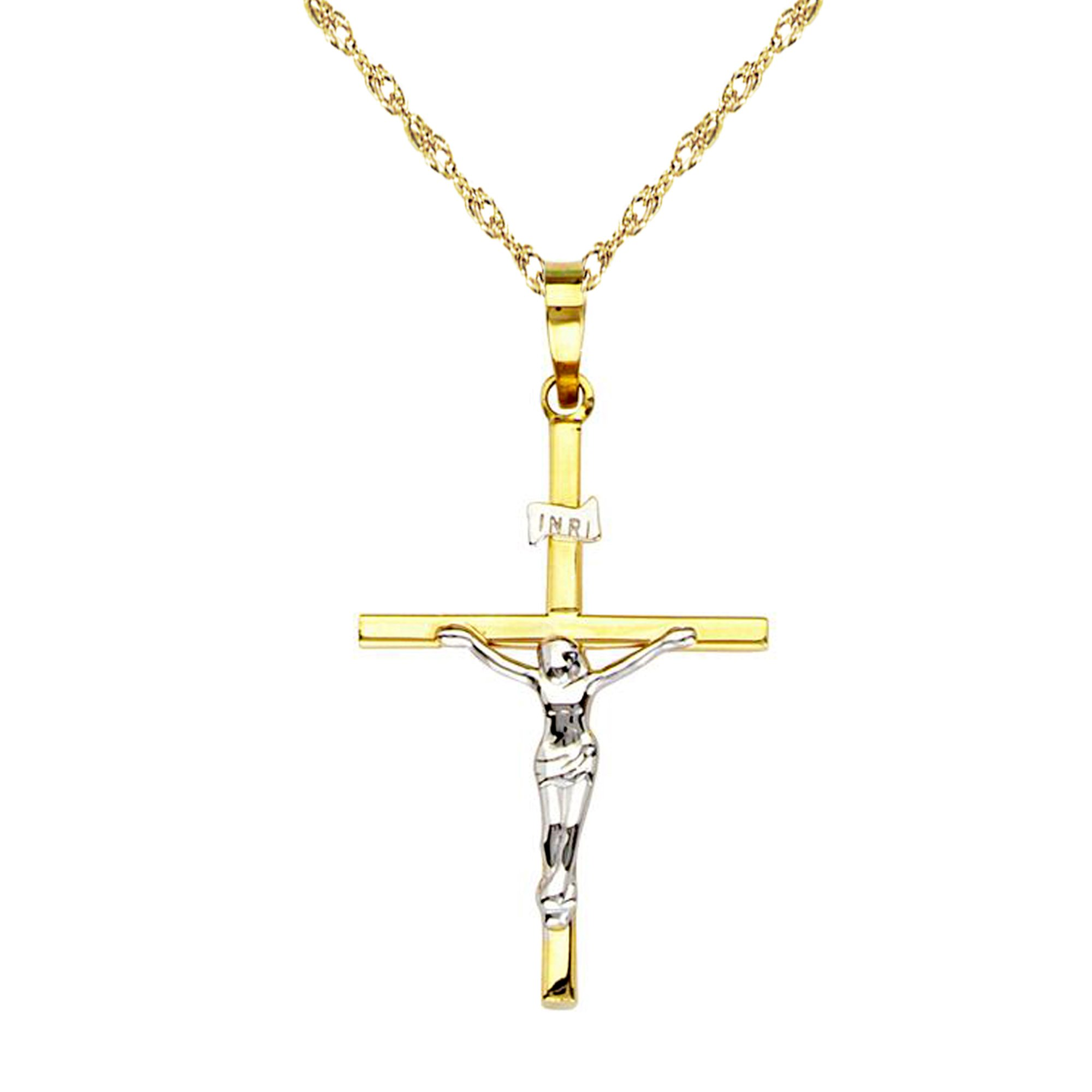 14k Yellow White Two Tone Gold Crucifix Cross Charm Pendant Necklace (16 Inches)