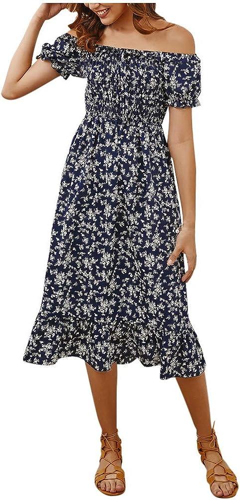 Vestido de Playa de Flores para Mujer Bohemio Vestido de AlgodóN Y Lino De Camiseta Vestido Estampado de Manga Corta Vestido Fiesta Largo Manga Corta Floral Print Casual Verano Maxi Vestidos: Amazon.es: