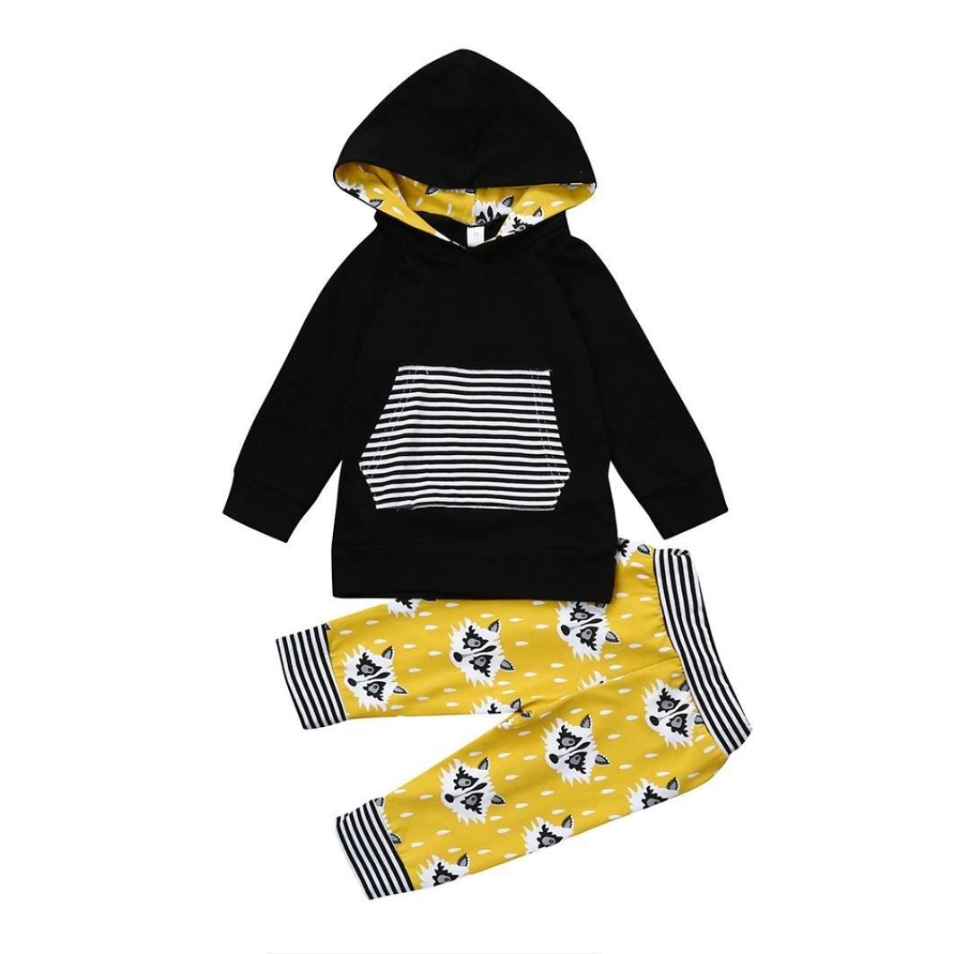 Longra 2PCS T-shirts Bébé Fille Garçon Haut a manches longues Sweats à capuche Rayé Tops+Renard Imprimé Rayé Pantalons Bébé Ensembles Vêtements Pyjama Bébé Automne Hiver Habits Bébé