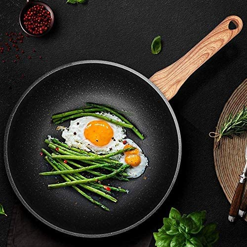Wok Noir en Aluminium antiadhésif - avec Couvercle en Verre trempé et Silicone antidérapant Stay-Cool, cuisinière à Induction - Facile à Utiliser, Ergonomique
