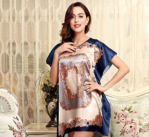 LJ&L La Sra verano estilo clásico personalidad manguito de impresión bufanda camisón yardas grandes flojas de pijamas / falda de baño,Dark blue,one size Blue