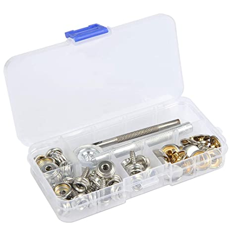 Silver 15mm VORCOOL 150pcs Canvas Snap Kit Tool Metal Screws