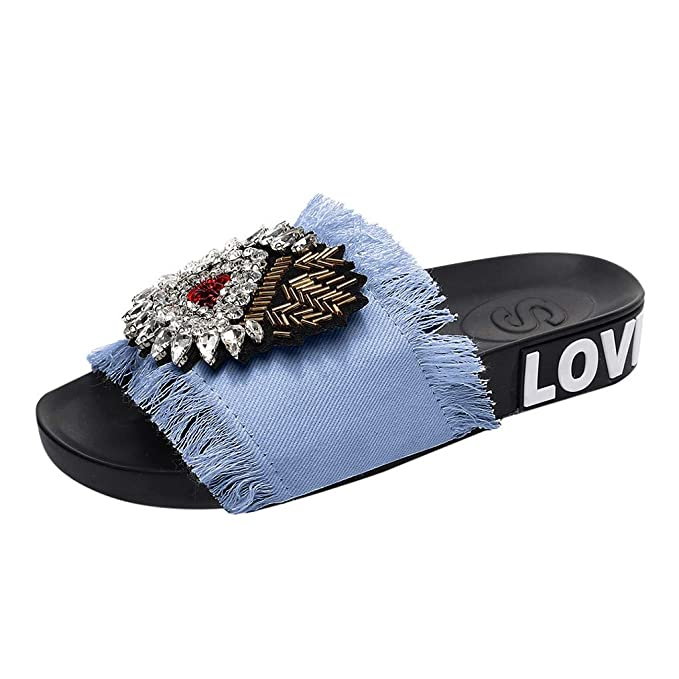 49dd17063 Amazon.com  Women s Platform Slippers Dacawin Fashion Denim Tassels Crystal  Outdoor Slides PVC Molded Footbed Flatform Sandals  Shoes