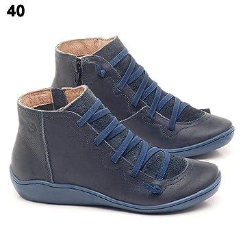 Jianghui133 Damen Ankle Boots Mit Schnürung Seitlicher Reißverschluss,Kunstleder Stiefeletten Flache Schuhe Arch Unterstützung Kurzer Boot Für