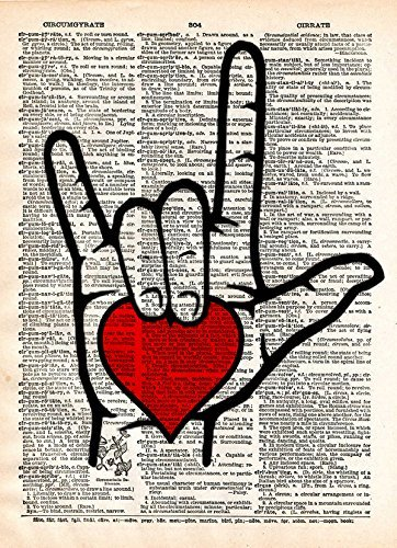 ASL I love you sign language art with heart, on vintage dictionary page -