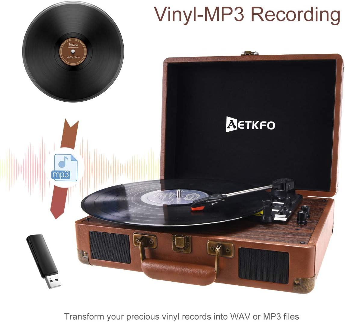 3 Velocidades 33//45//78 RPM Tocadiscos Est/éreo Reproductor de Vinilo Tocadiscos Bluetooth con Altavoces AETKFO Tocadiscos de Vinilo Salida RCA//Conector para Auriculares//MP3//USB
