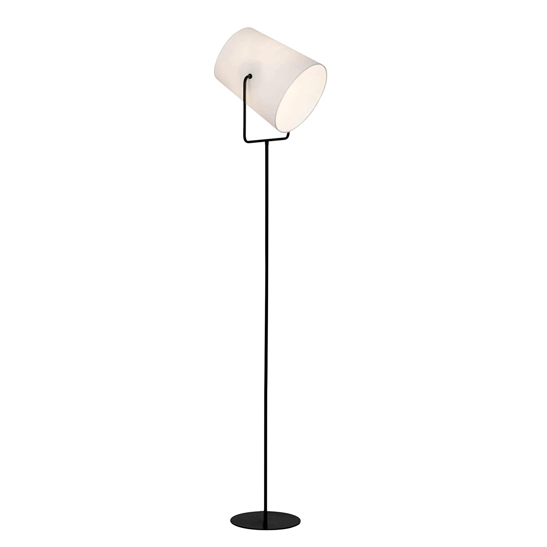 Standleuchte, 1-flammig, 1x E27 max. 60W, Metall Textil, schwarz weiß