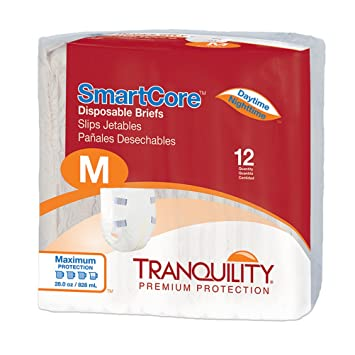 Tranquility SmartCoreTM Adult Disposable Color-Coded Briefs (Medium - 12 Count)