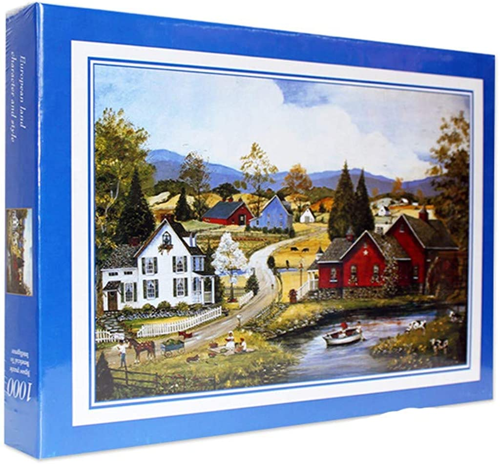 GDJGTA Jigsaw Puzzle,1000 Piece Large Jigsaw Puzzles-Adult Children Puzzle Toy,Lakeside Cottage