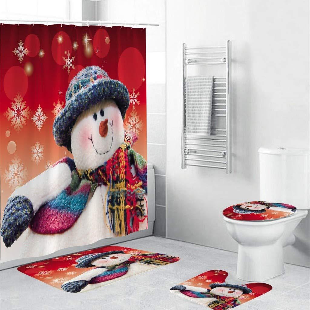 A goodjinHH Badgarnitur Badematten Set 4 teilig Weihnachts Muster Badvorleger Badteppich,WC Vorleger Badematte,rutschfest waschbar Duschvorleger Dusch Vorhang