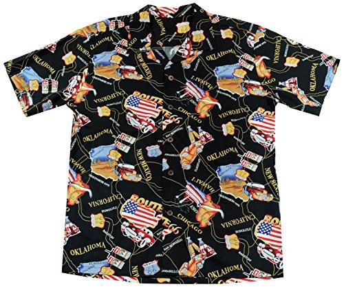(High Surf Men's Hawaiian Aloha Shirt (XL, Route 66))