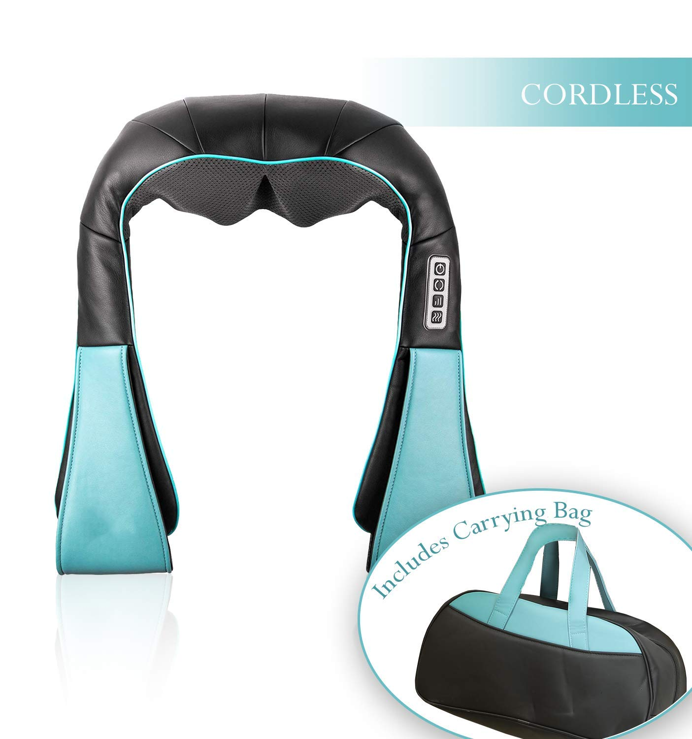 Cordless SHIATSU DEEP Tissue Neck KNEADING Massager with Heating Function Includes Carrying Bag Great for Neck, Back, Shoulder and More