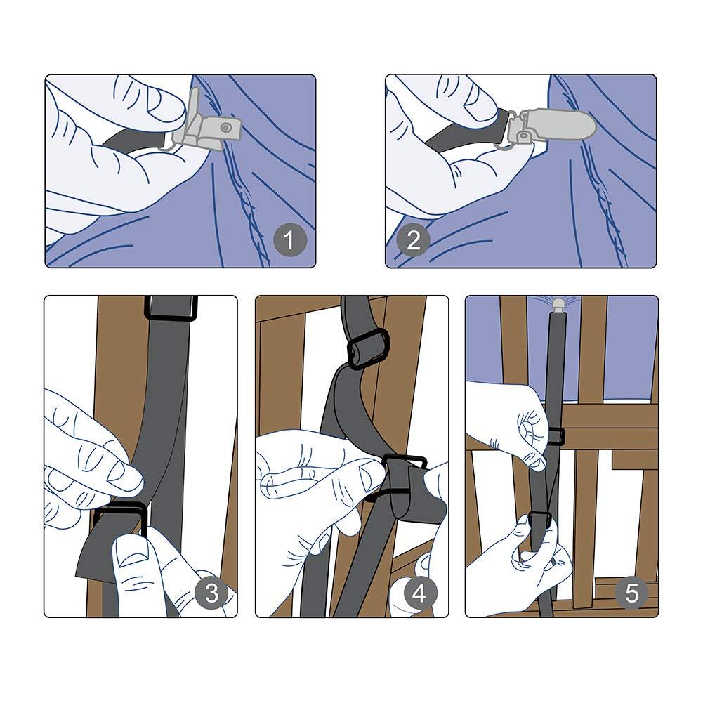 AURIZE 2 Pi/èces//Tendeur Drap Sangle Drap Pince Drap,R/églable Drap de Lit Attaches,Pinces Serre Draps Blanc