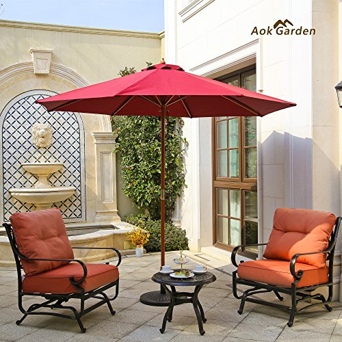 (Aok Garden 9ft Wooden Market Umbrella W/Double Pulley Polyester with PA Coating Sunshade Burgundy )