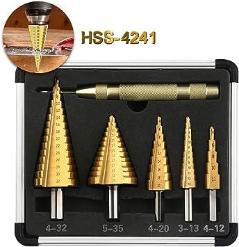 3tlg HSS STUFENBOHRER Schälbohrer Kegelbohrer Fräser Titan 4-12//20//32mm