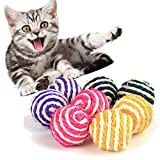 Cats Ball Toys, Cat Pet Sisal Rope Weave Ball Teaser Play Chewing Rattle Scratch Catch Toy 2019 New (Random)