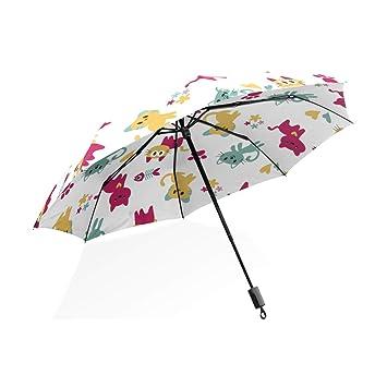 ISAOA Paraguas de Viaje automático, patrón de Paraguas Plegable con Bonitos Gatos Resistente al Viento