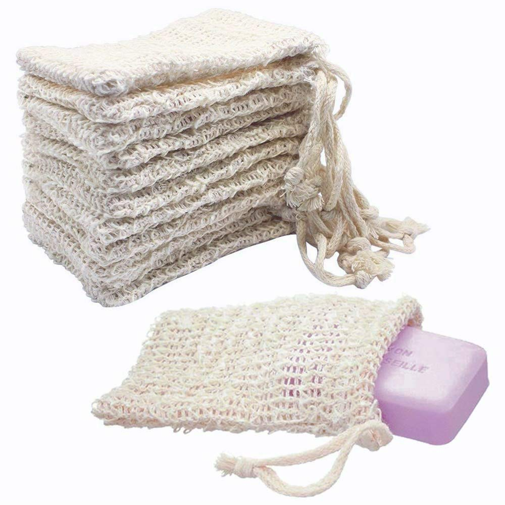 "KIPETTO 15Pcs Natural Sisal Soap Bags Exfoliating Mesh Soap Saver Pouch, 5.5""x3.5"