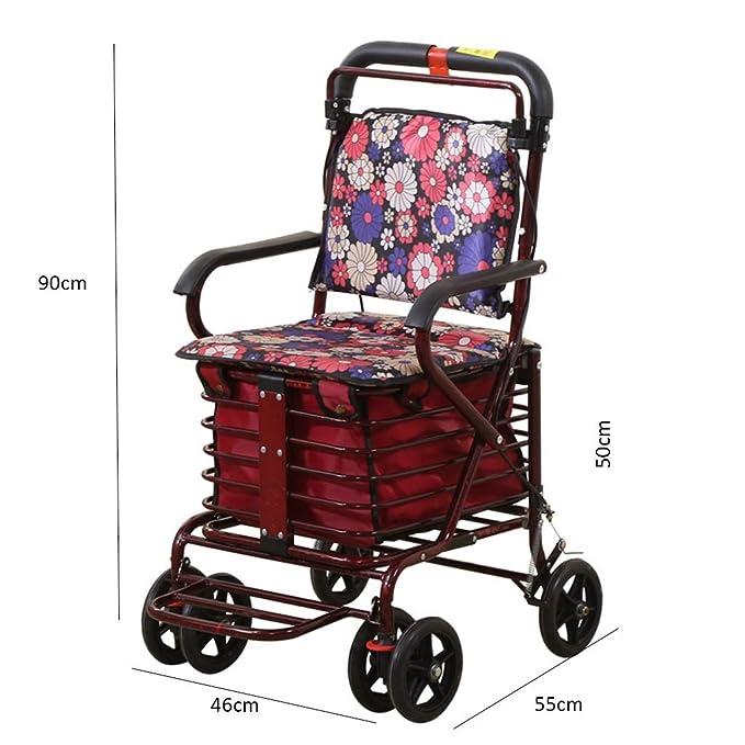 Old Man Trolley Carrito de compras portátil Andador plegable Silla ...