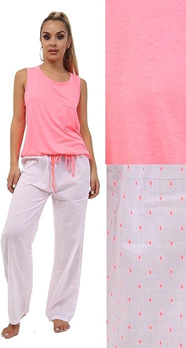e8e27d45f2 F4S® Womens 100% Cotton Vest Top and Full Length Leg Pyjamas Set. Back.  Double-tap to zoom