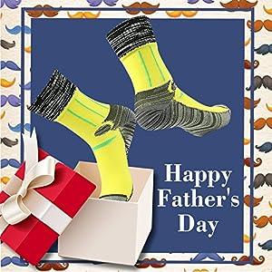 RANDY SUN 100% Waterproof Socks, Men's Athletic Crew Socks Boot Cushion Hiking Running Outdoor Cycling Sock Black Orange