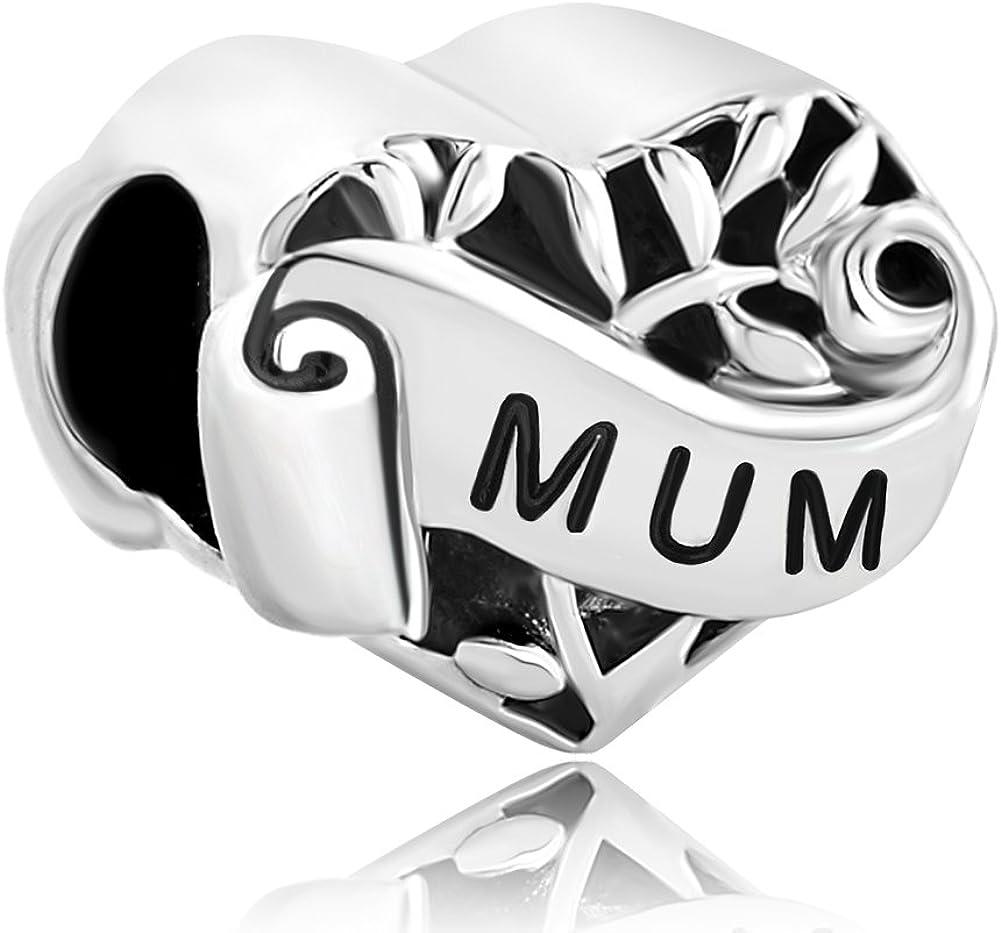 Sug Jasmin I Love You Heart Family Charm Hollow Family Tree Life Beads