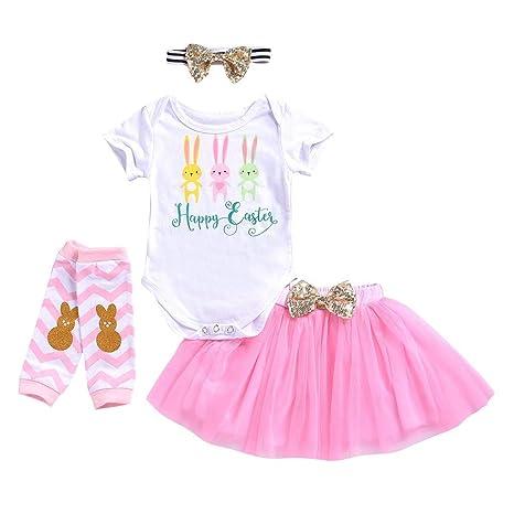 4PCS Easter Newborn Baby Girls Romper Jumpsuit Skirts Pants+Shoes+Headband Sets