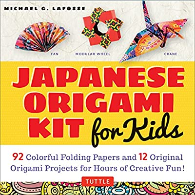 Japanese Origami Kit for Kids: 92 Colorful Folding Papers and 12 Original Origami Projects for Hours of Creative Fun! [Origami Kit with Book, 92 papers, 12 projects]