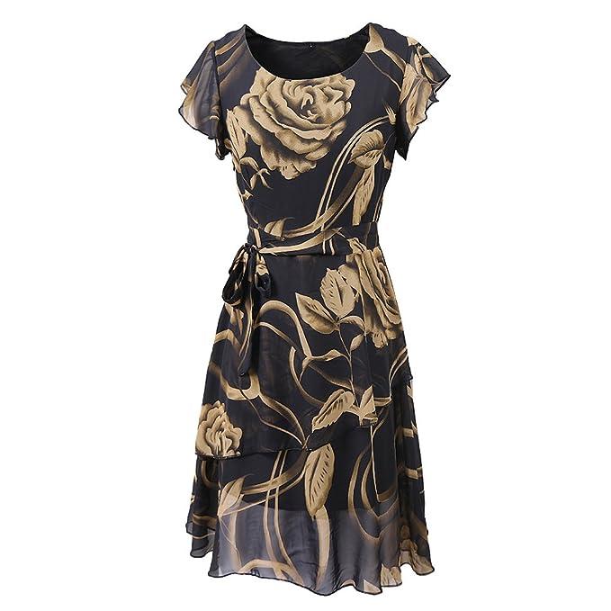 QIN&X La mujer cuello redondo manga corta de verano Vestidos Faldas Chiffon de giro de impresión: Amazon.es: Ropa y accesorios