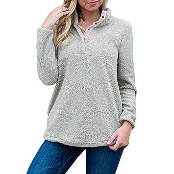 05863afe5b6 Hermia Womens Long Sleeve Sherpa Pullover Button Down Fleece Casual Sweatshirt  Tops fashion (Color