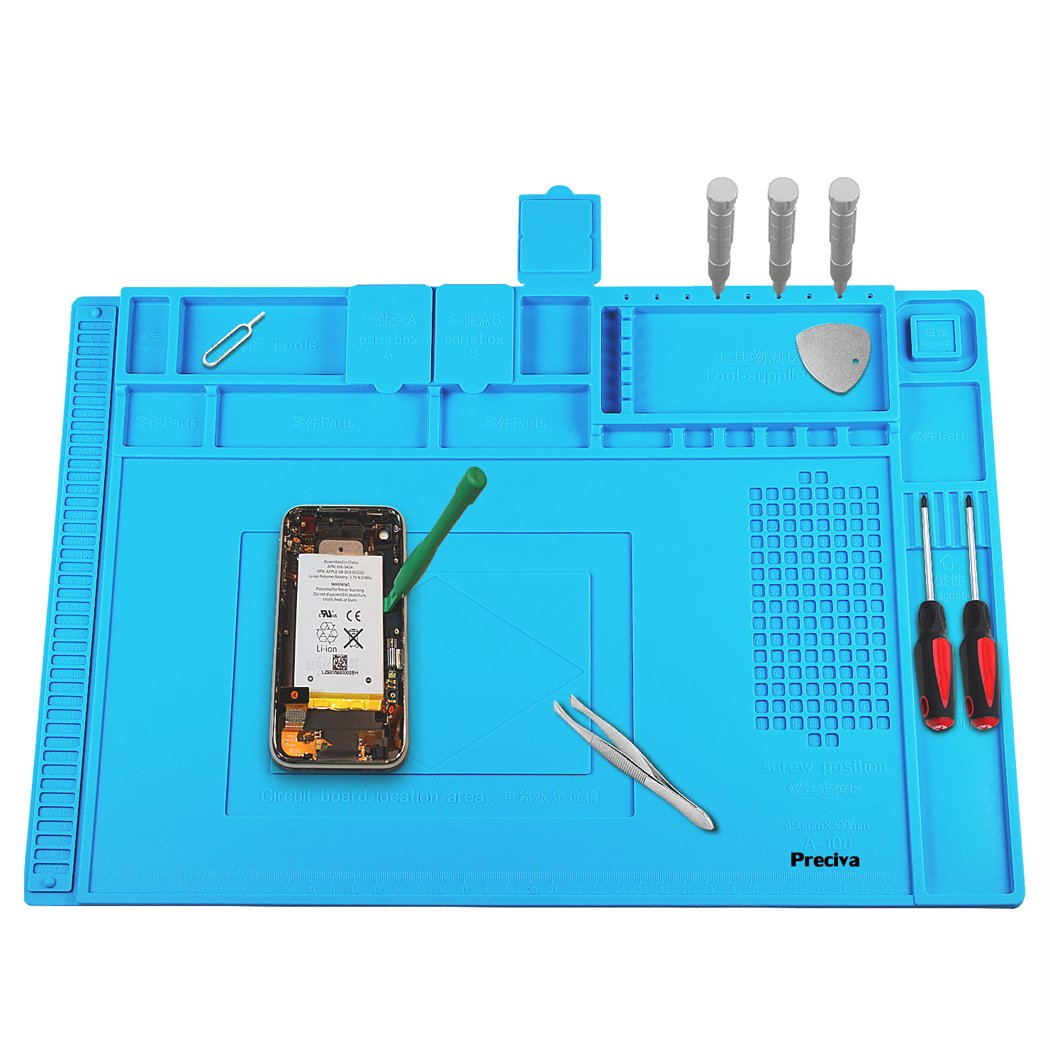 Anti-Static Soldering Mat, Preciva 500℃ Heat-resistant Magnetic Multi-purpose Work Station Pad for Soldering Brazing Phone Watch Repair (45 x 30 cm)