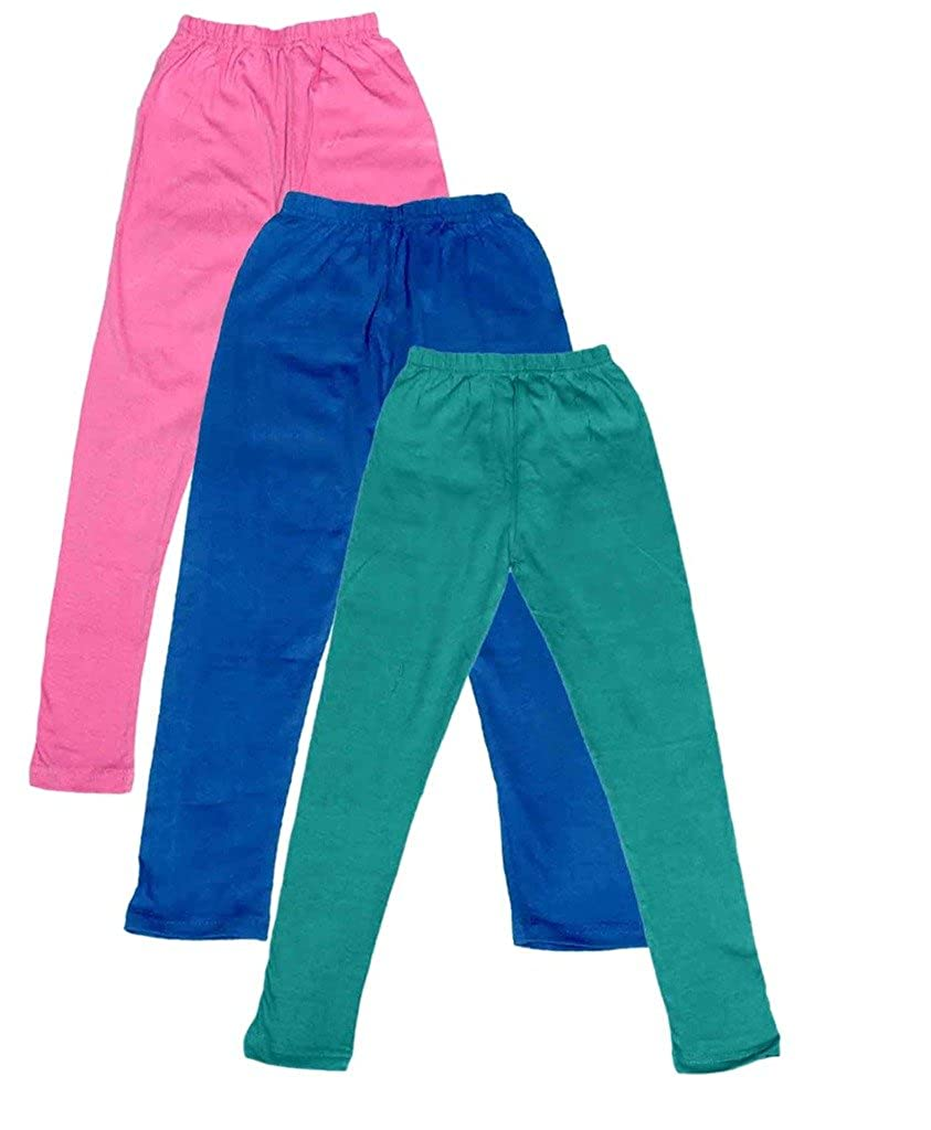 -Multiple Colors-9-10 Years Pack of 3 Indistar Big Girls Cotton Full Ankle Length Solid Leggings