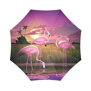 beaituful rosa flamencos impermeable resistente al viento paraguas de viaje plegable compacto