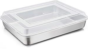 TeamFar Lasagna Pan with Lid, 12⅖'' x 9¾'' x 2'', Stainless Steel Rectangular Baking Cake Pan, Heavy Duty & Non-Toxic, Deep & Visible, Brushed Finish & Dishwasher Safe- (1 Pan+1 Lid)