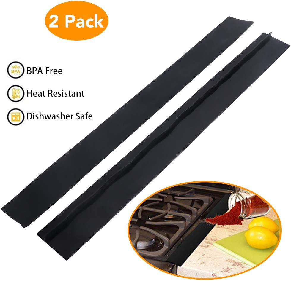 Stove Counter Gap Cover, Kmeivol Premium Silicone Stove Gap Cover for Stove Top, Stove Side Covers for Kitchen, Heat Resistant Silicon Stove Counter Gap Cover, Easy Clean, Pack of 2, Black, 21 Inch