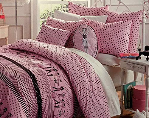 Bella Lux Ballet/Ballerina Girls TWIN 2-pc. Reversible All Season Comforter Set by Striking Pink and Black