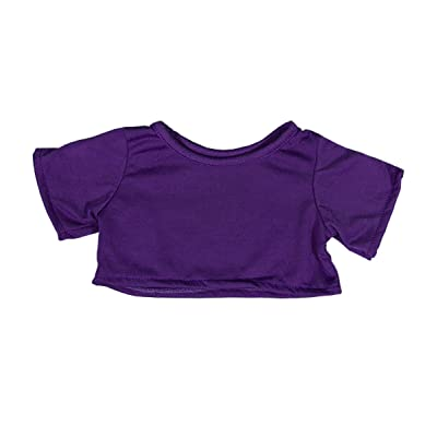 "Purple T-Shirt Teddy Bear Clothes Fits Most 14""-18"" Build-a-Bear and Make Your Own Stuffed Animals: Toys & Games"