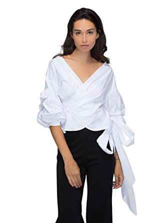 4e05ddab5fd0d Choies Women White Cross Wrap Front Ruffle Bell Sleeve Bow-Waist Tie  Vintage Blouse Top