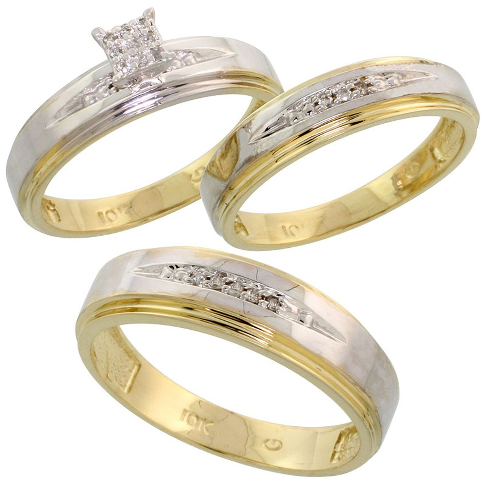 10k Yellow Gold Diamond Trio Engagement Wedding Ring Set for Him and Her 3-piece 6 mm & 5 mm wide 0.11 cttw Brilliant Cut, Ladies Size 10