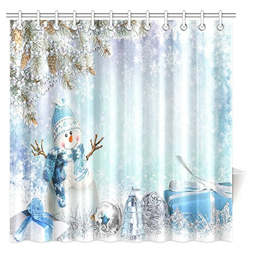 mas Decorations Collection, Christmas Greeting Cute Snowman and Gifts Pine Branches Winter Landscape Bathroom Shower Curtain Set with Hooks, 72 X 72 Inches Extra Long (Winter Greetings Bath)
