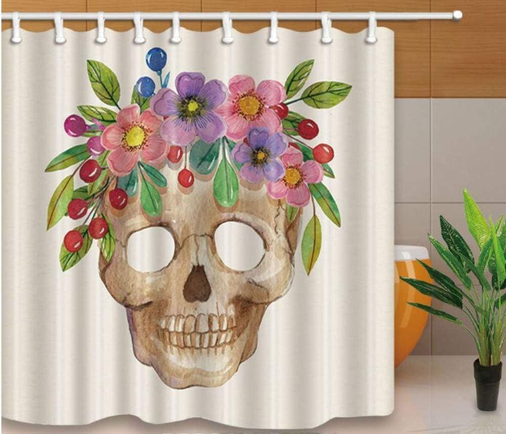 Yiciyici Azúcar Cráneo Ducha Cortinas Flores Impreso Mamparas De Baño Resistente Al Agua Y Moho Lavable con 12 Ganchos Tejido De Poliéster-180(H) X200(W): Amazon.es: Hogar