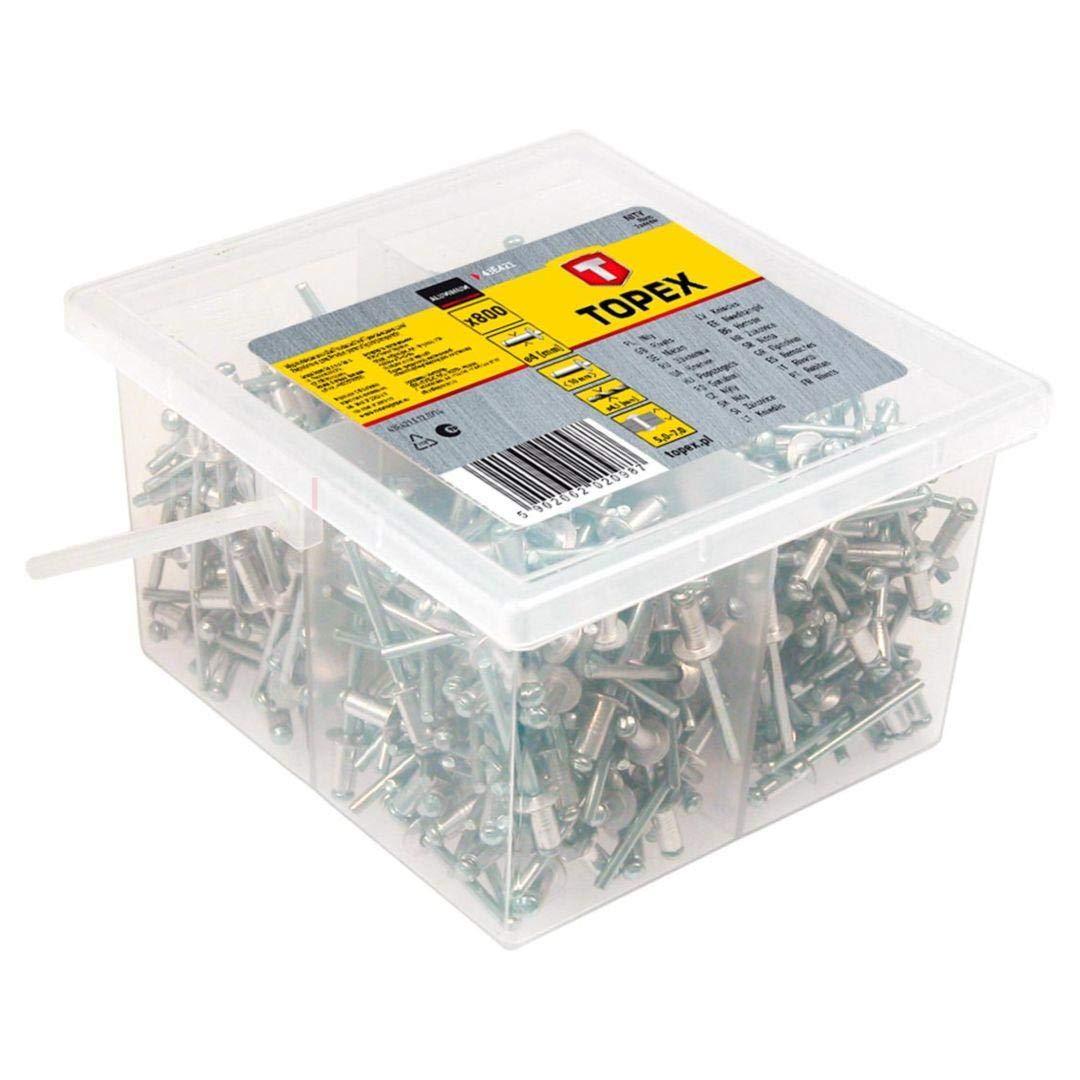 Topex 43E503 Pack de 50 remaches aluminio, 4,8 x 12,5 mm Set Piezas