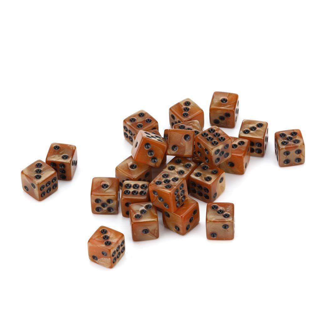 25 PCS Resin Dice Polyhedral Game Dice D6 Multi Sided Dice for Dungeons and Dragons/Playing Game/Card Games (coffee)