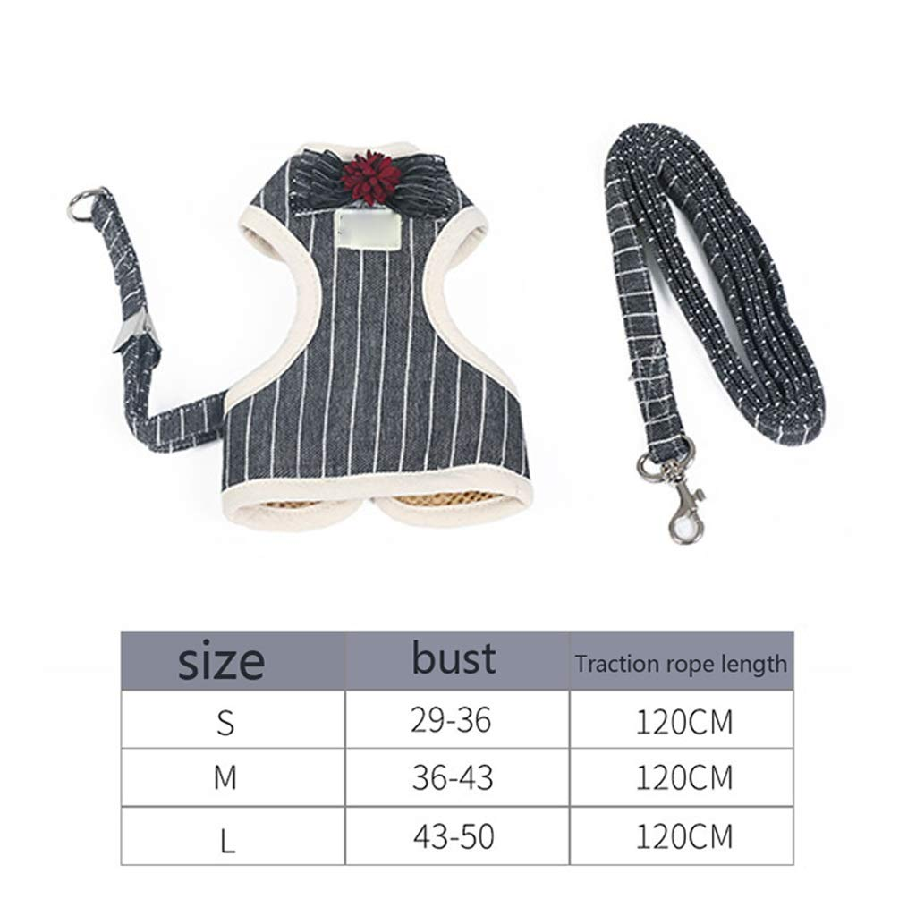 Black M Black M LZRZBH Pet Supplies Puppy Kitten Traction Rope Chest Strap Cat Small Dog Chain Teddy Vest Rope Cat Rope Collar (color   Black, Size   M)