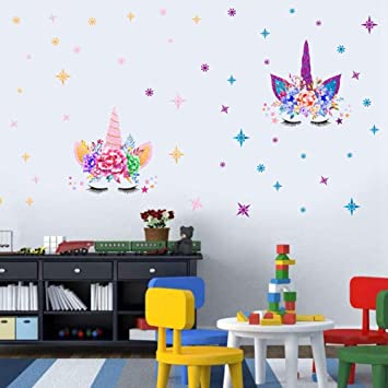 2pcs Unicorn Wall Decals Romantic Unicorn Wall Stickers Girls Bedroom Home Decor Unicorn Theme Party Decorations Wall Decor With Stars
